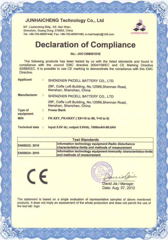 PKCELL CE Certificate