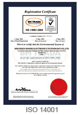 PKCELL IS014001 Certificate